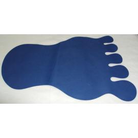 50 Alfombras forma pie azul